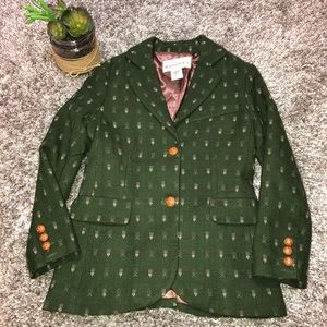 Anthropologie MADCHEN Sz M lined wool blazer Green